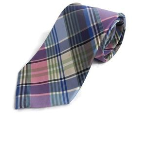 Tommy Hilfiger Mens Tie, Pink Blue Yellow Plaid